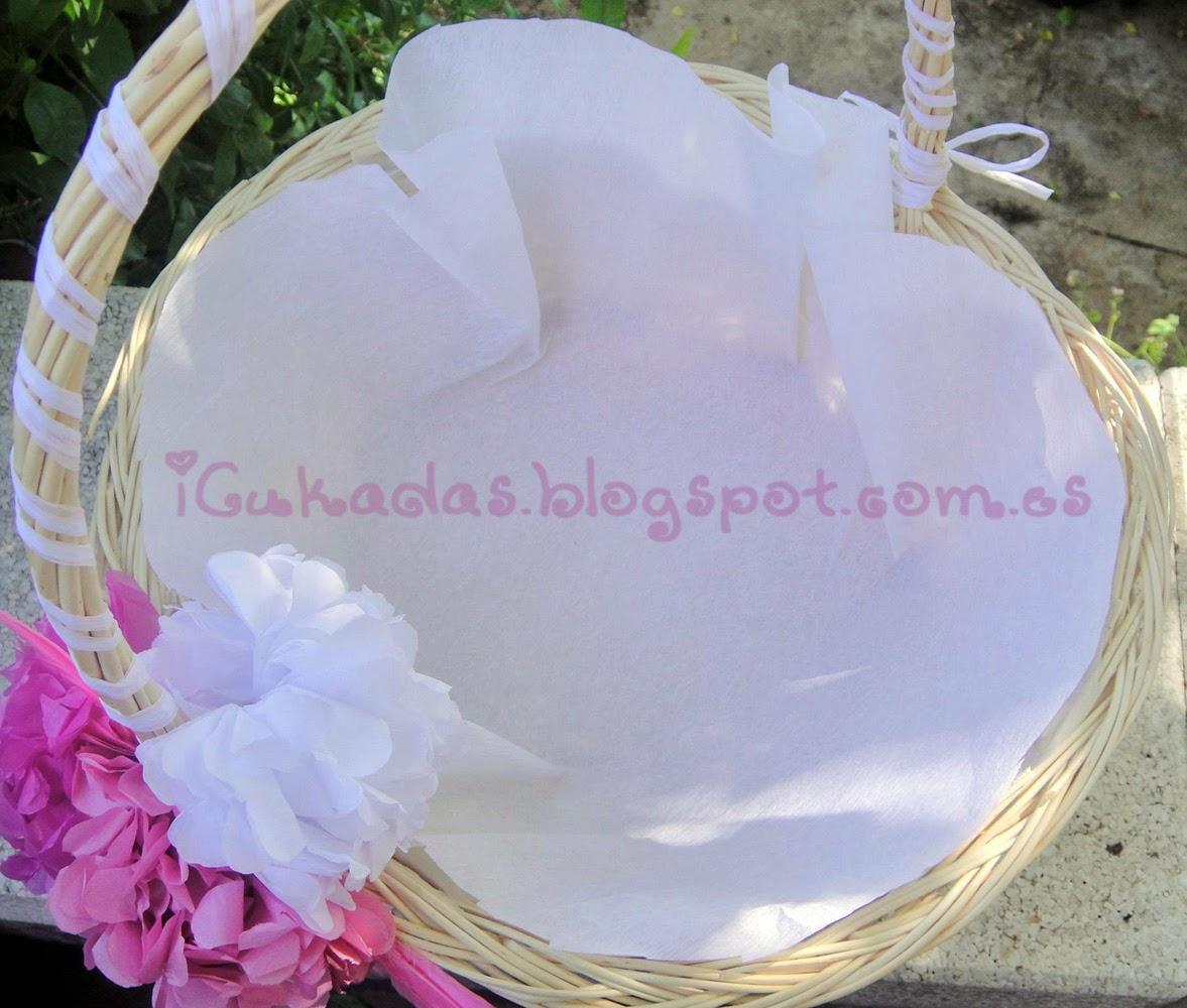 Icukadas tutorial como decorar una cesta para regalos de - Como adornar una cesta de mimbre ...