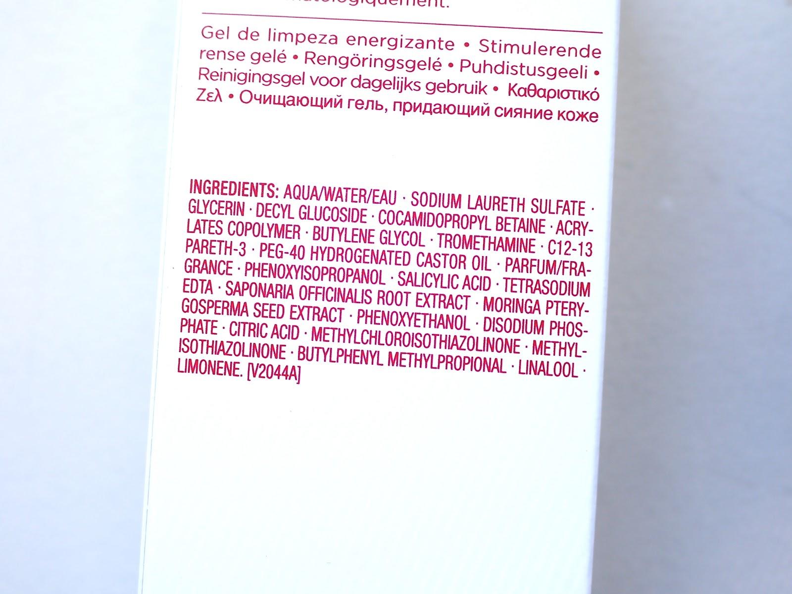 Clarins Daily Energizer Cleansing Gel ingredients