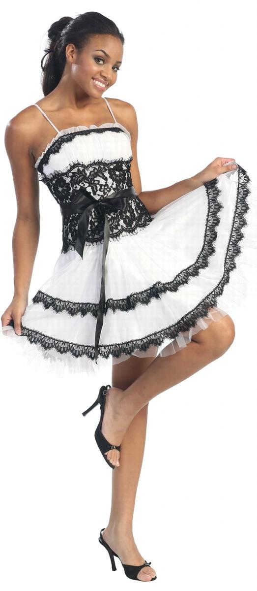 Vestidos de fiesta en blanco y negro cortos