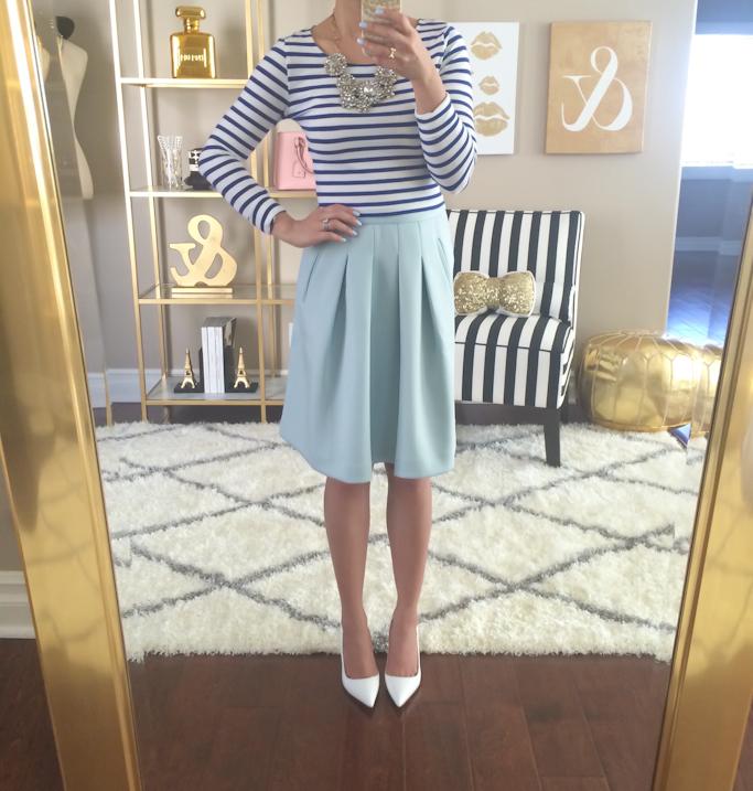 Loft mint pleated lady skirt Manolo Blahnik BB white pumps H&M striped crop top Ily Couture Opera Bib Necklace