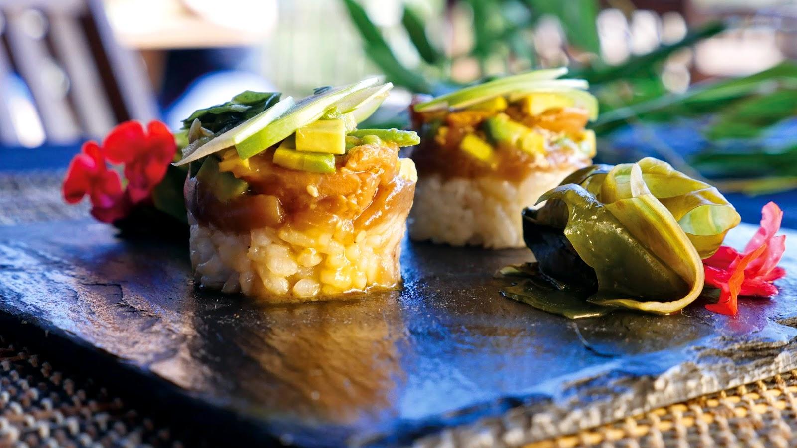 Tartar xaponés con prebe de castaña. Termas Chavasqueira, Sabores de Ourense