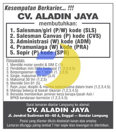 Bursa Kerja Lampung CV Aladin Jaya 2015, Lowongan kerja Lampung, Minggu 11 Januari 2015