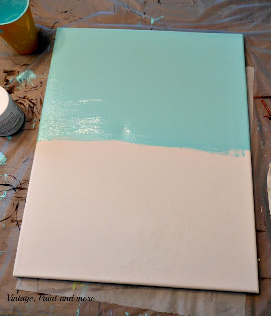Vintage, Paint and more... DIY Dorm Art - first step of the painted canvas