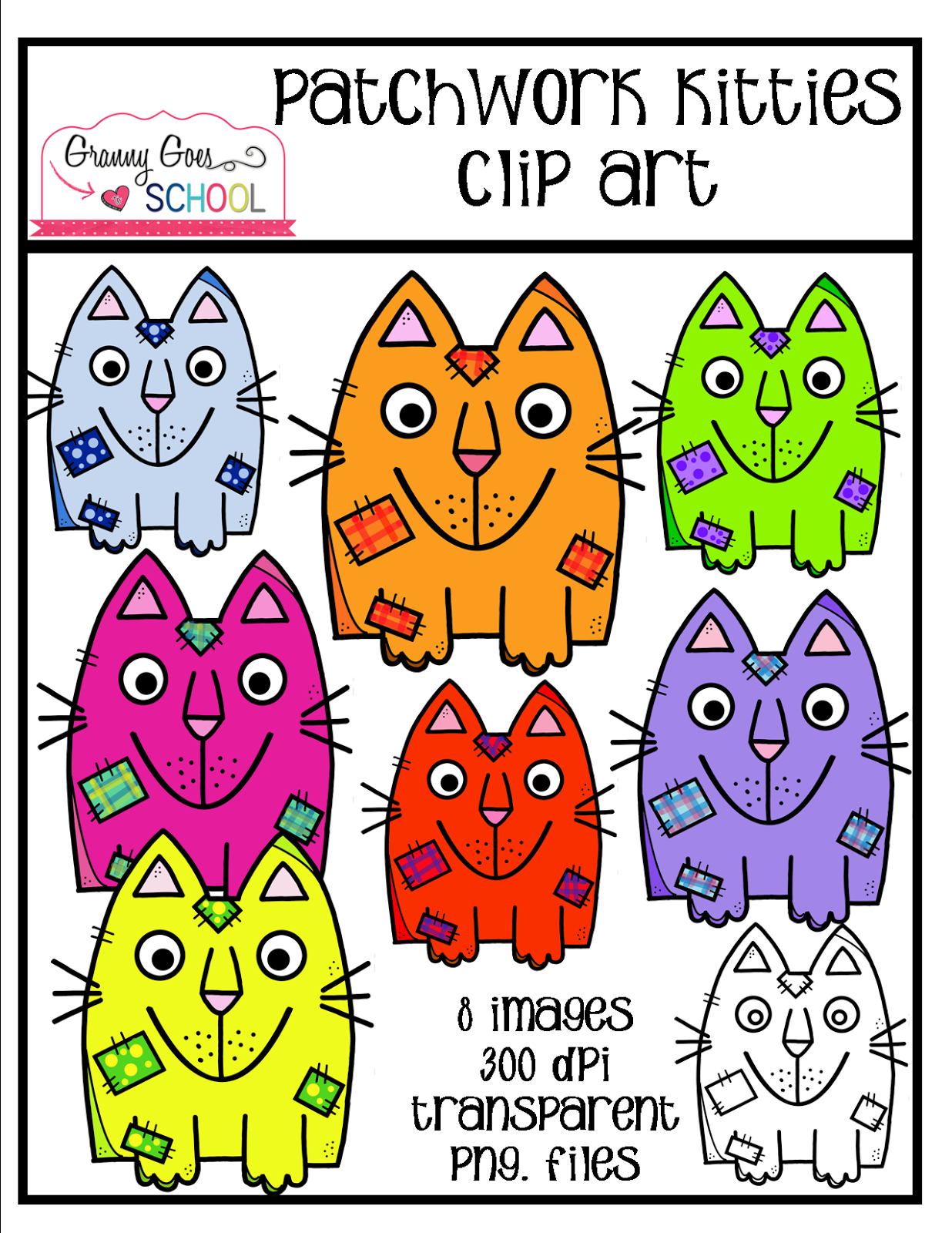 http://www.teacherspayteachers.com/Product/Patchwork-Kitties-Freebie-Clip-Art-1608060