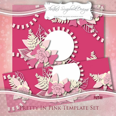 Pretty In Pink Template Set, Freebie at GoDigitalScrapbooking