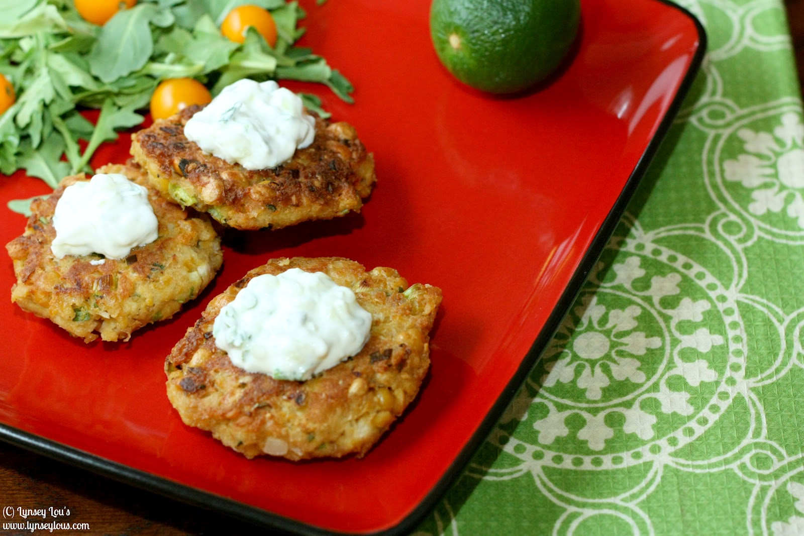 Lynsey Lou's: Chickpea Cakes with Cucumber-Yogurt Sauce