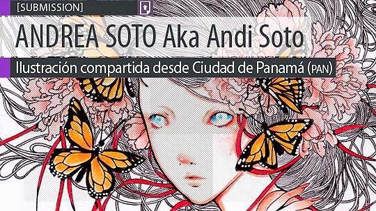 Ilustración. Mariposa en rojo de ANDREA SOTO Aka Andi Soto