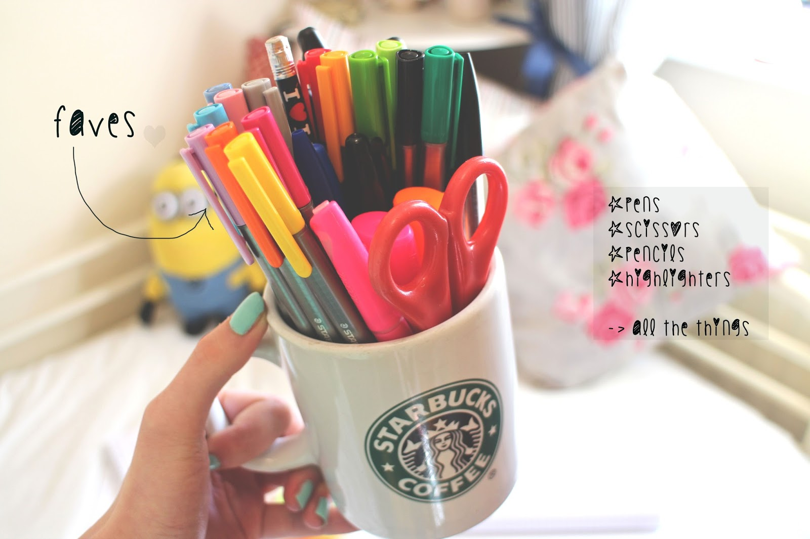 pen organisation starbucks mug