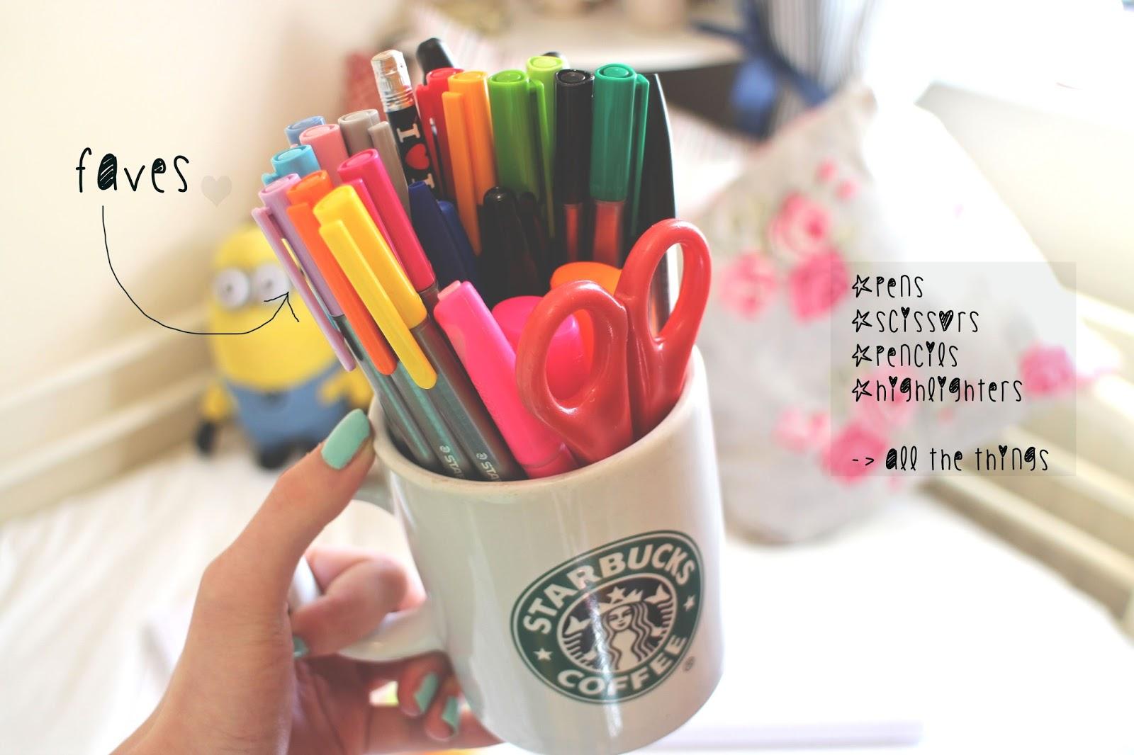 pen organisation starbucks mug
