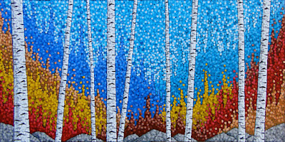 Autumn Encore, acrylic landscape birch tree painting by artist aaron kloss