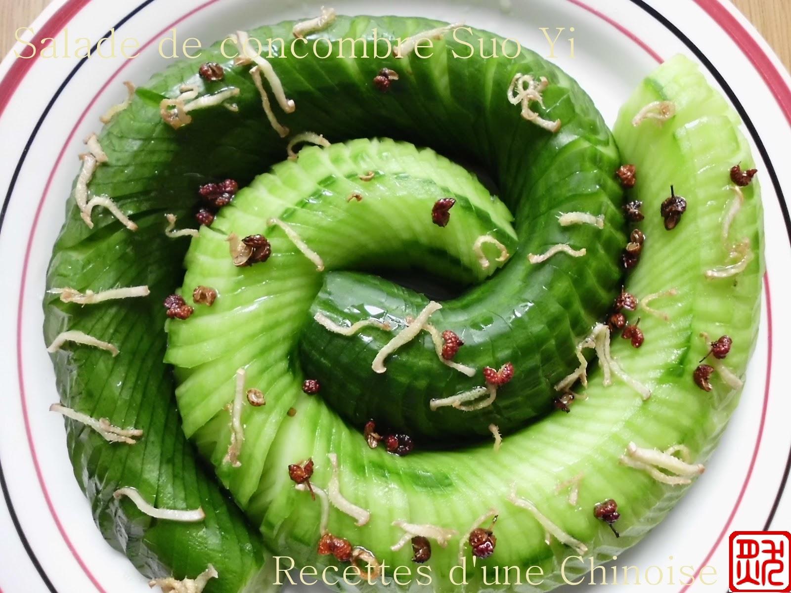 recettes d 39 une chinoise salade de concombre suo yi su y hu ng gu. Black Bedroom Furniture Sets. Home Design Ideas