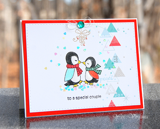 Deck the Halls with Inky Paws - Day 4 - Virginia Lu | Penguin Card | Holiday Smooches stamp set by Newton's Nook Designs #newtonsnook