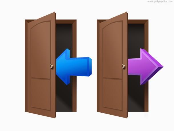 Login and Logout Door Symbol PSD