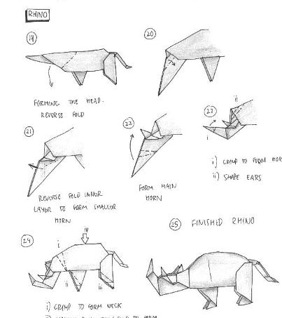 Origami Instructions Rhino 3d Make Easy Art And Craft Ideas