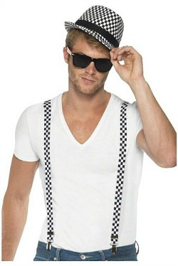 ska two tone checked hat and braces costume