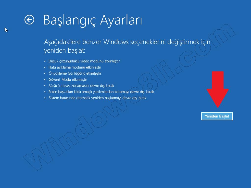 Windows 8 Güvenli Modda Başlatma