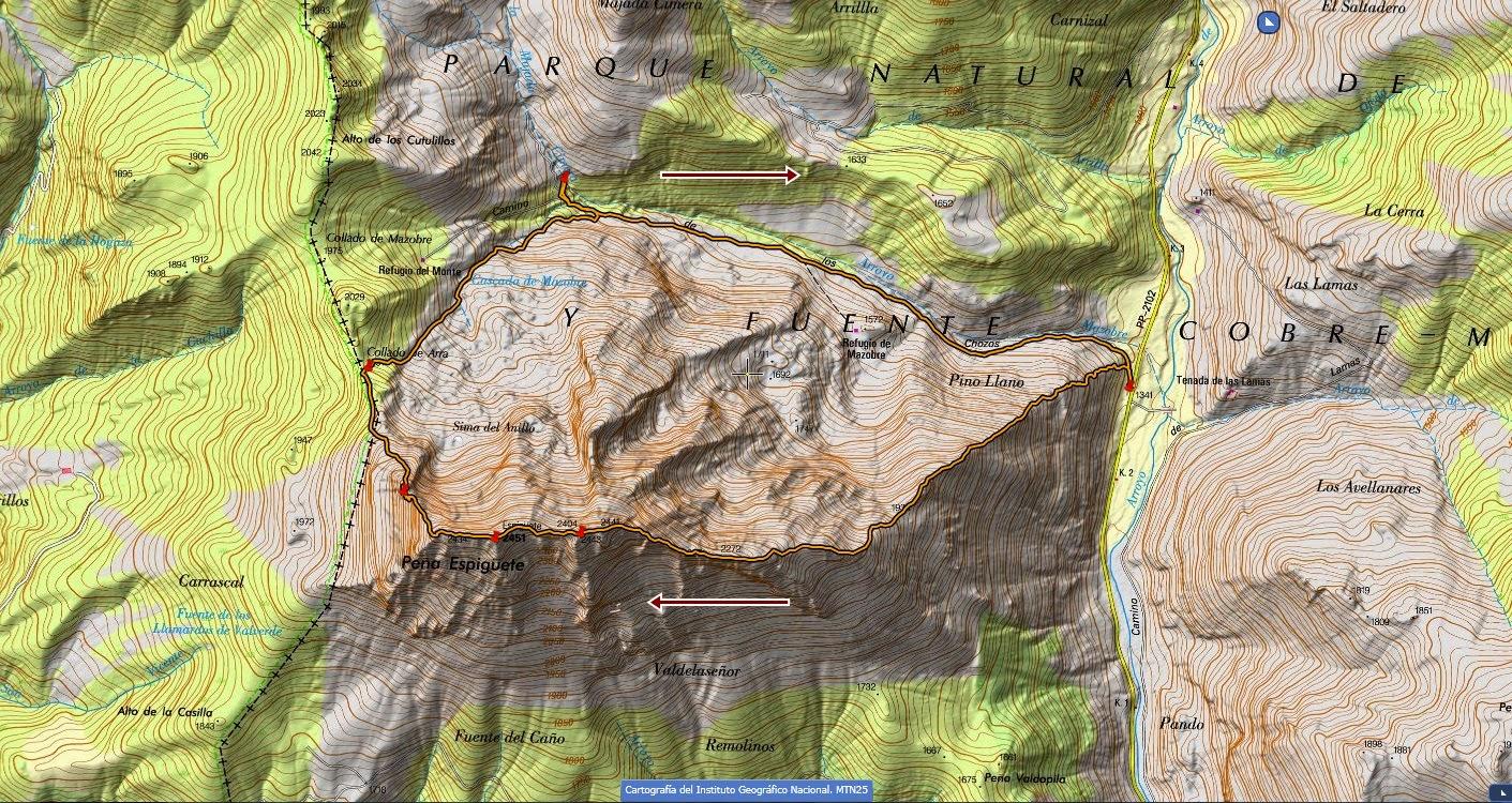 Mapa topográfico Espigüete