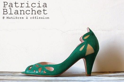 Escarpins Patricia Blanchet chaussures d'été ajourées motif Findouce vert rétro