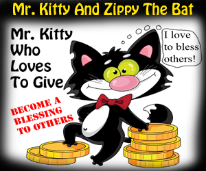 "Mr. Kitty And Zippy The Bat ""Mr. Kitty Who Loves To Give"" By Church House Collection"