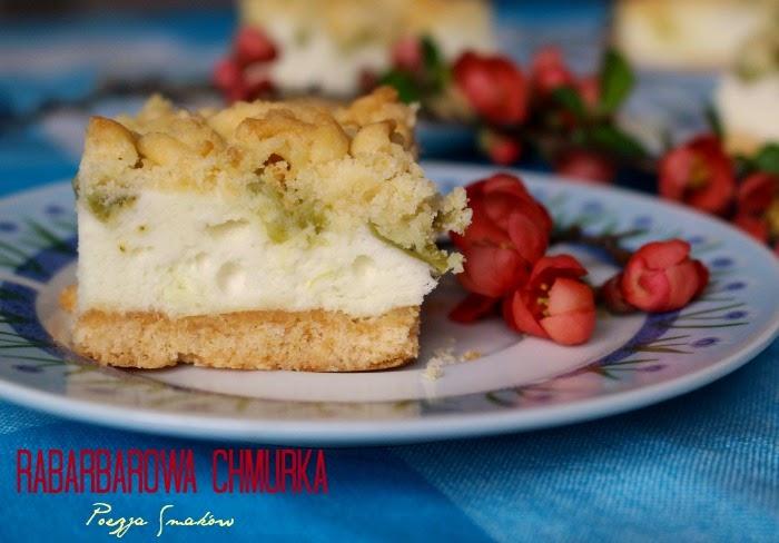Rabarbarowa chmurka - kruche ciasto z pianką i rabarbarem.