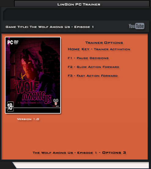 The Wolf Among Us v1.0 Trainer +3