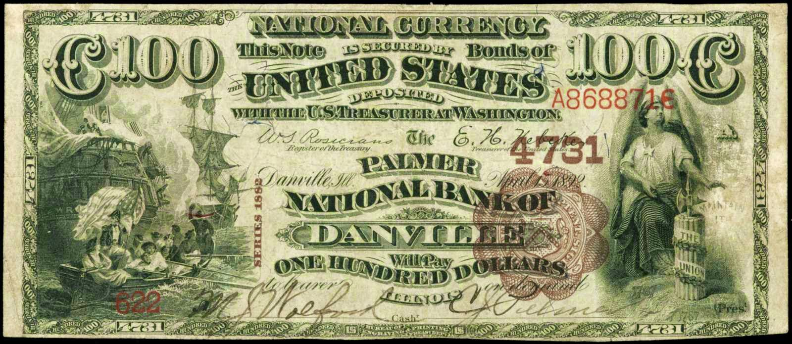 United States paper money 100 Dollar National Bank Notes