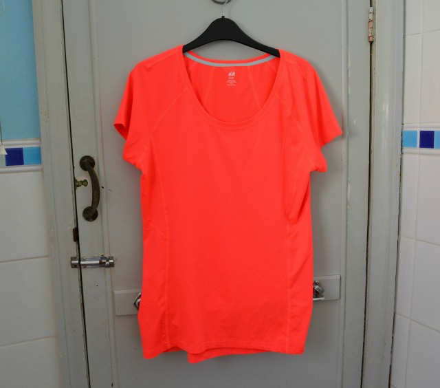 h&m neon orange sportswear t-shirt