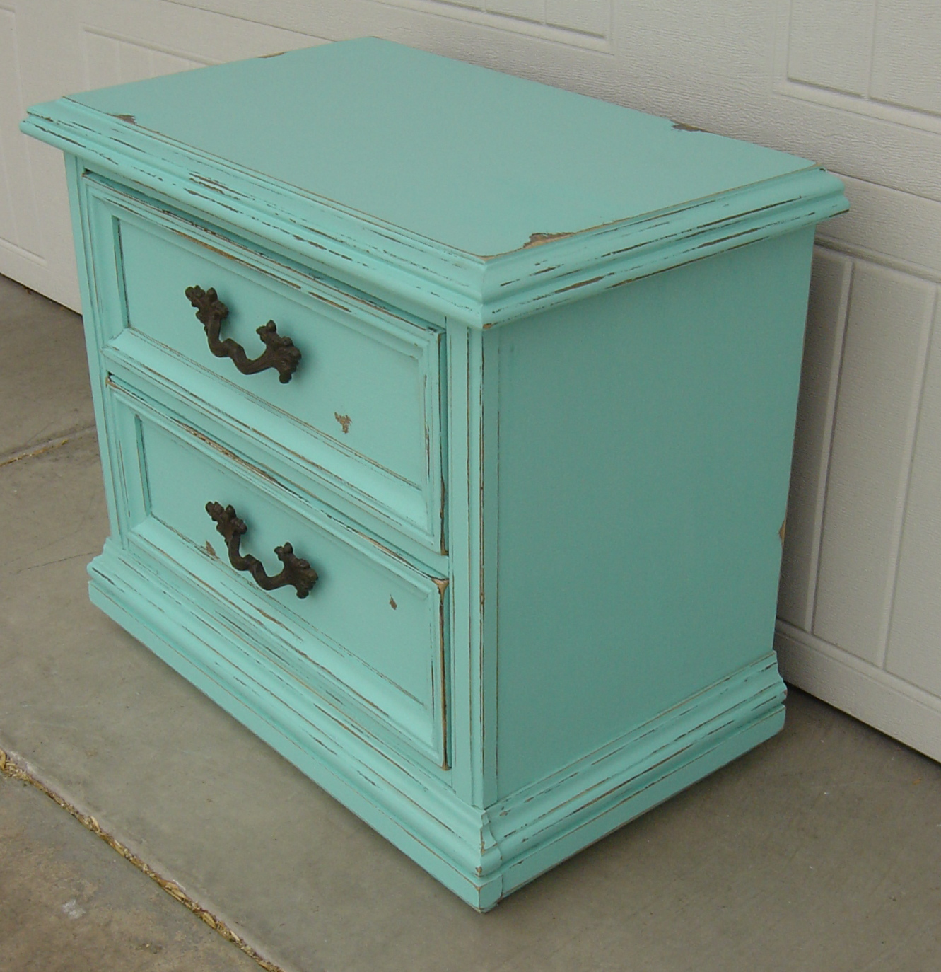 The Backyard Boutique by Five to Nine Furnishings Before and After Turquoise & Teal Night Stand