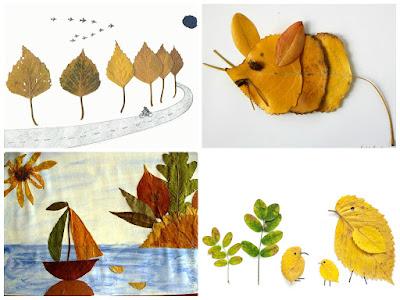 аппликации картины из листьев