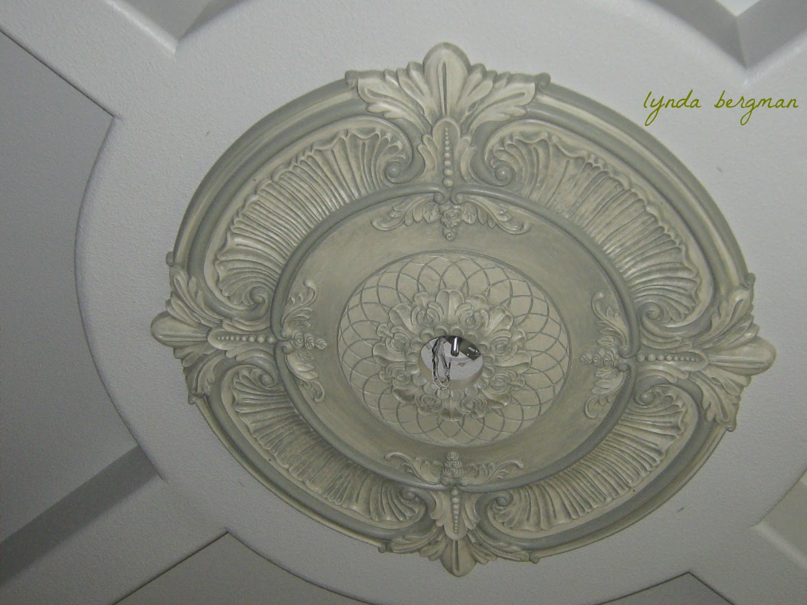 medallion look ceiling metal light spray a like paint white black foam painted pin to