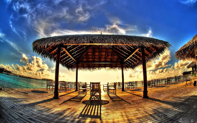 A beautiful shot of a gazebo overlooking the ocean in the Bahamas