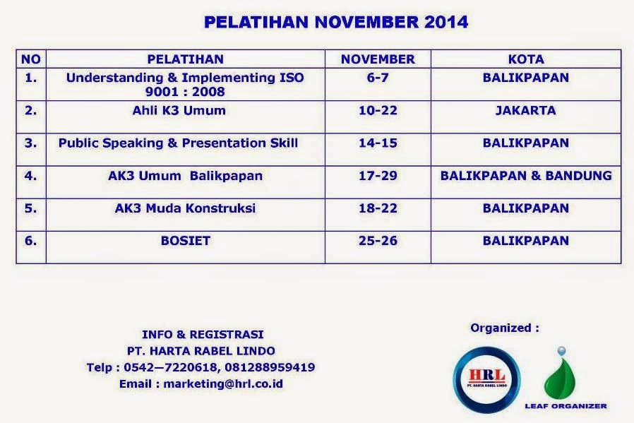 UP COMING TRAINING NOVEMBER 2014