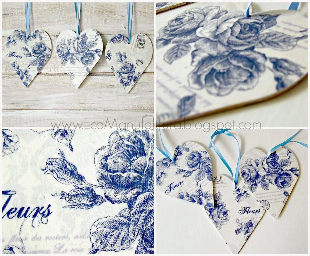 pomysł na oryginalny prezent walentynkowy i dekoracje - serca decoupage by Eco Manufaktura