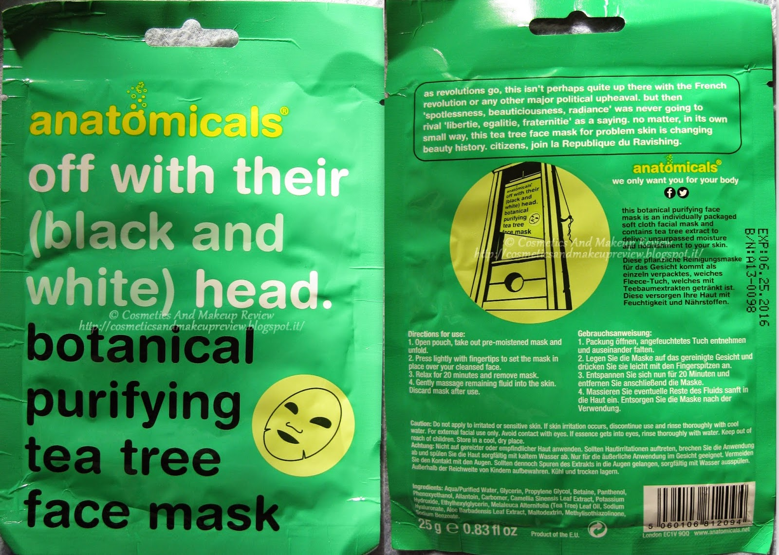 Anatomicals - Off with their (black and white) head - Botanical purifying tea tree face mask - packaging