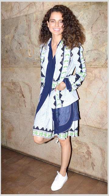 Kangana in Geometric pattern dress with canvas shoes