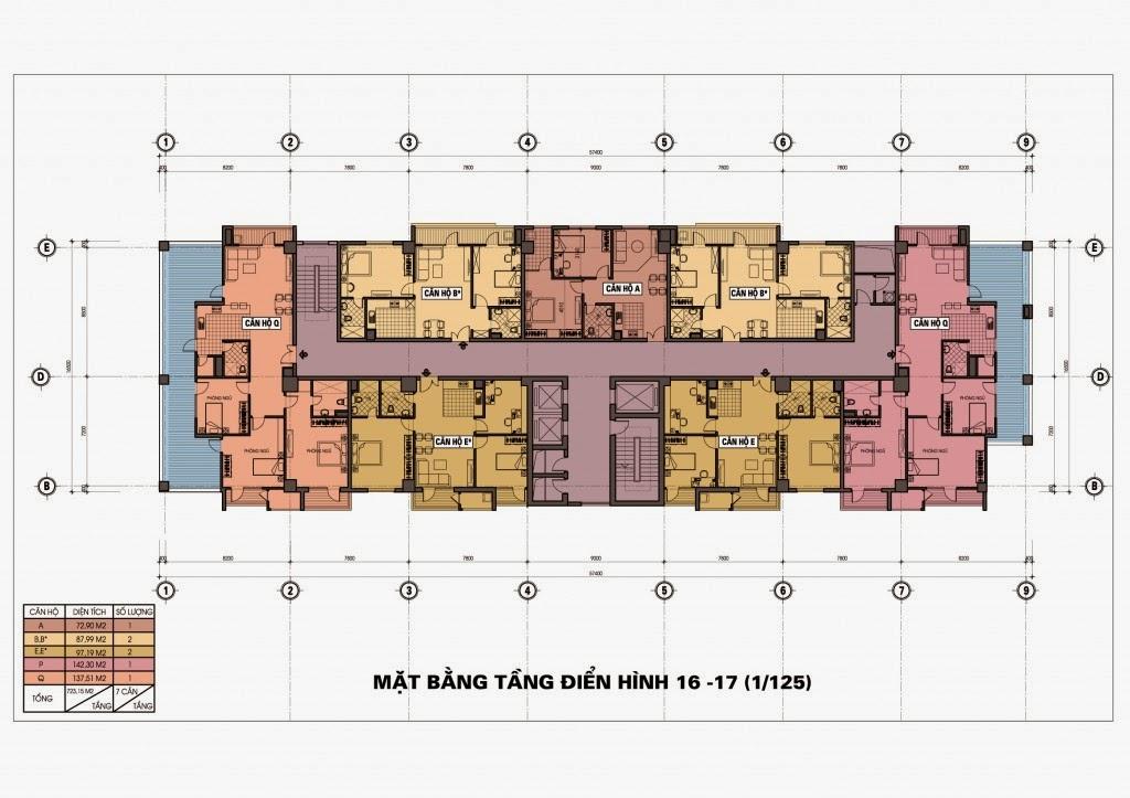Thiết kế mặt bằng tầng 16 - 17 chung cư Diamond Blue