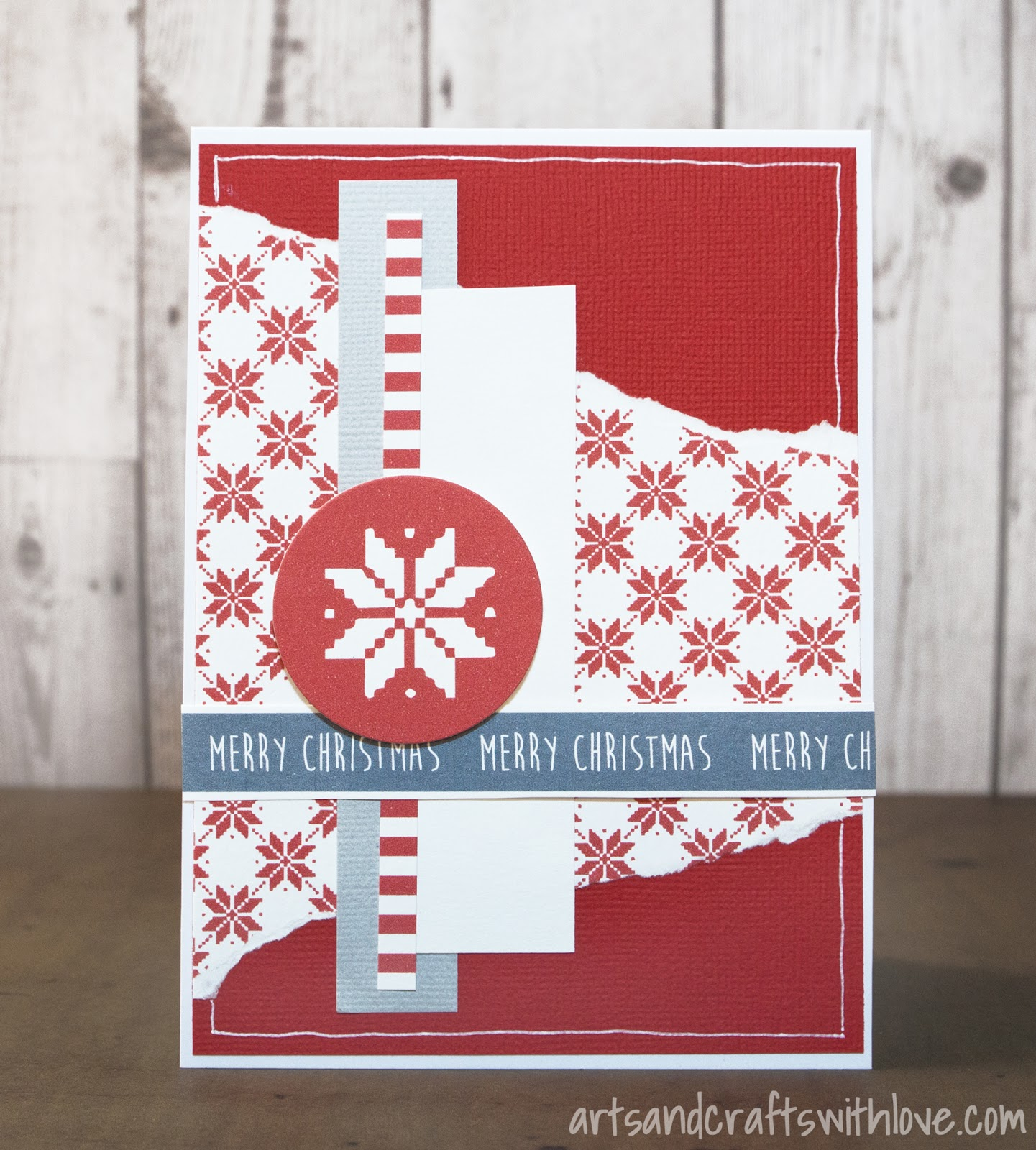 Mixed media paper crafting merry christmas card - Elina S Arts And Crafts Scandinavian Style Christmas
