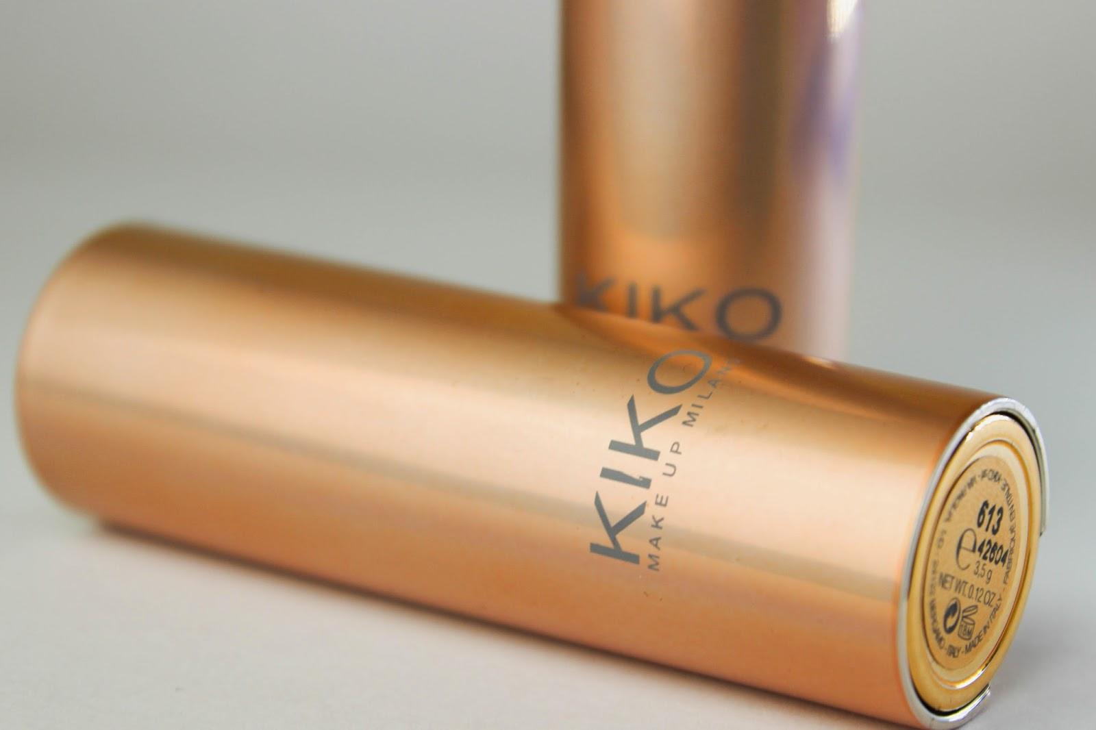 KIKO Velvet Matte Lipsticks Review Swatch 605 Orange Red 613 Pink Carnation