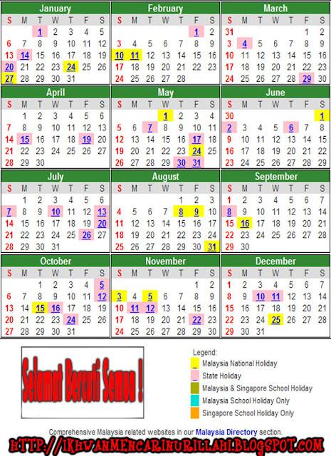 Kalendar Cuti Umum Dan Cuti Sekolah Malaysia 2013