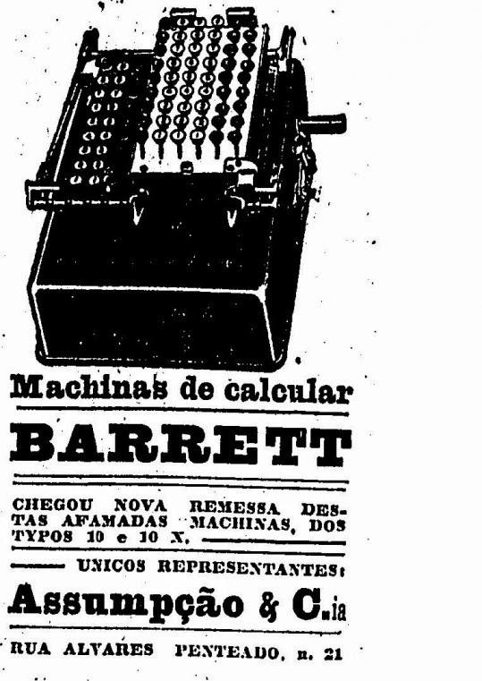 Propaganda da máquina de calcular Barrett, em 1919.