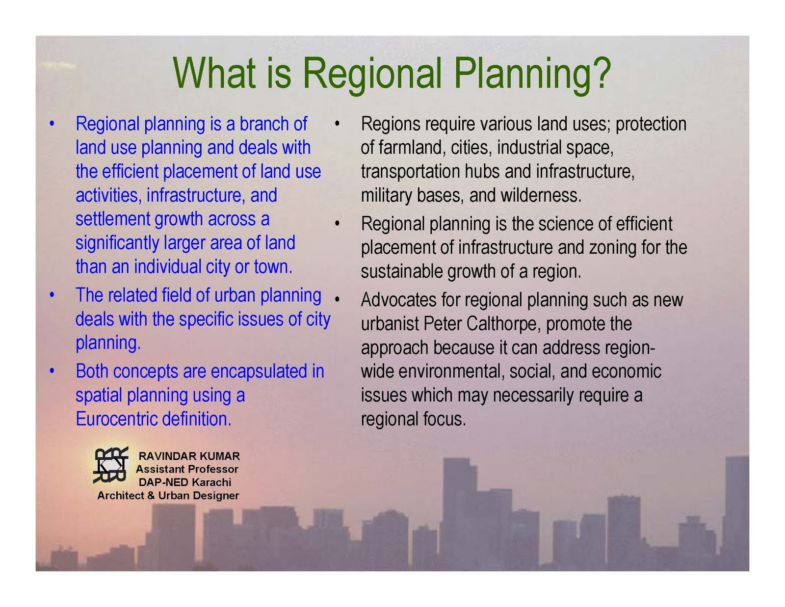 urban and regional planning The master's in urban & regional planning at georgetown prepares students to solve the critical challenges facing urban communities around the world.