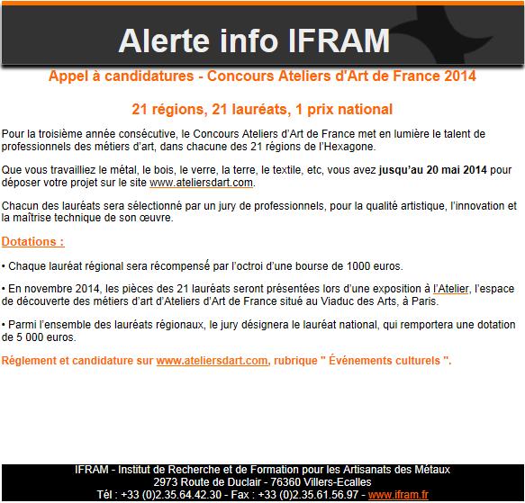 Appel candidatures concours ateliers d 39 art de france 2014 l 39 ech - Ateliers d arts de france ...