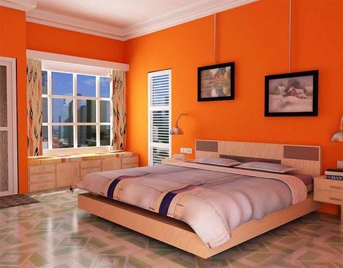 Fotos de dormitorios naranjas dormitorios colores y estilos - Cabeceras pintadas en la pared ...