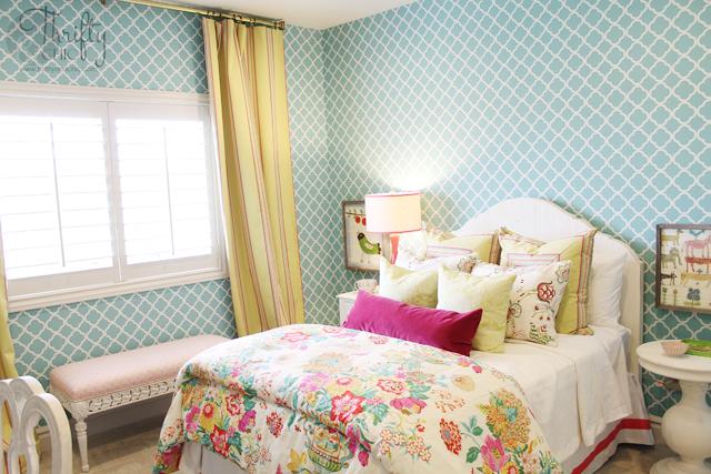 Aqua, yellow and pink girls bedroom ideas