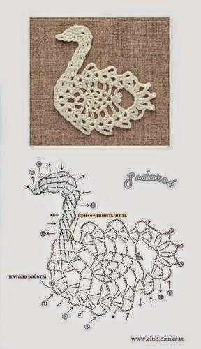 Aplique con forma de cisne tejido con ganchillo
