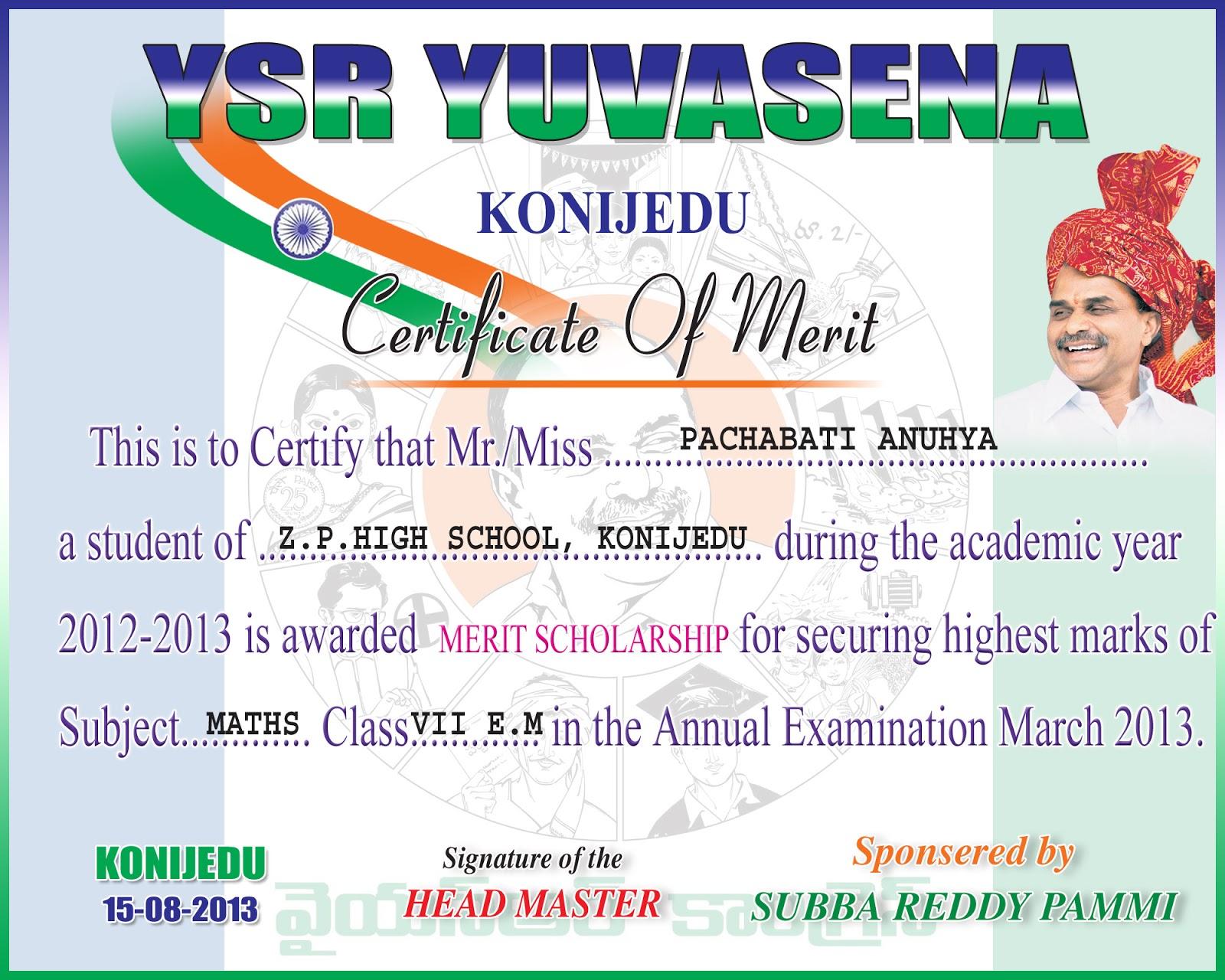 KONIJEDU – Merit Certificate Comments
