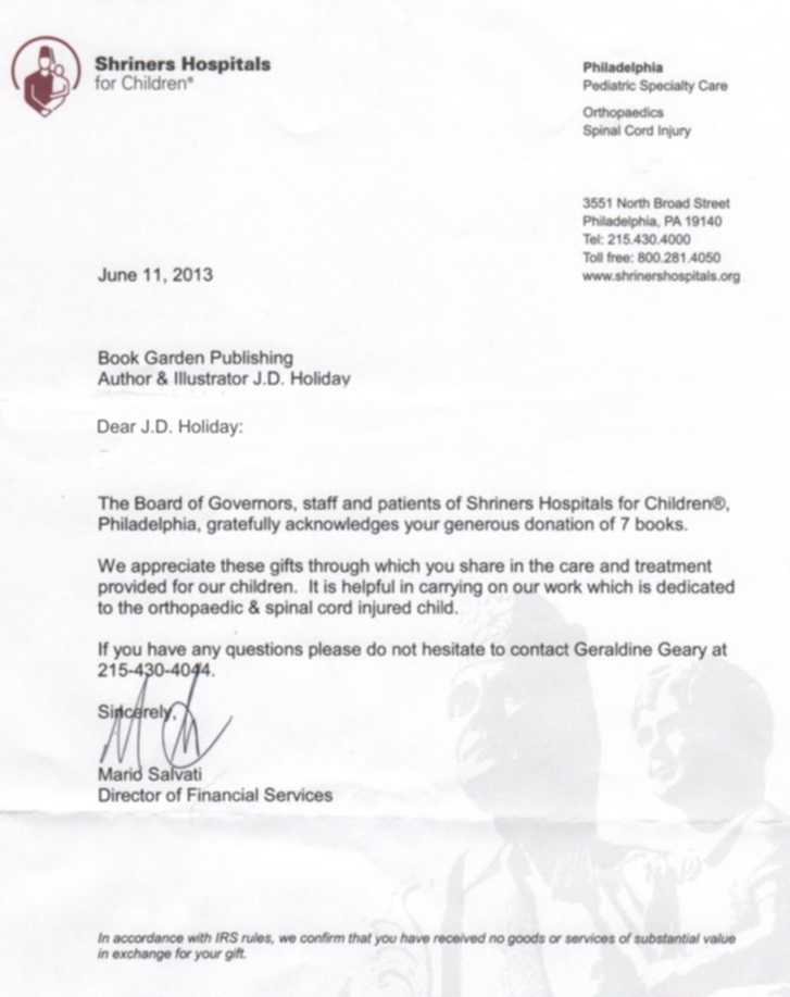 letter of thanks to our authors from shriners hospital for children june 2013