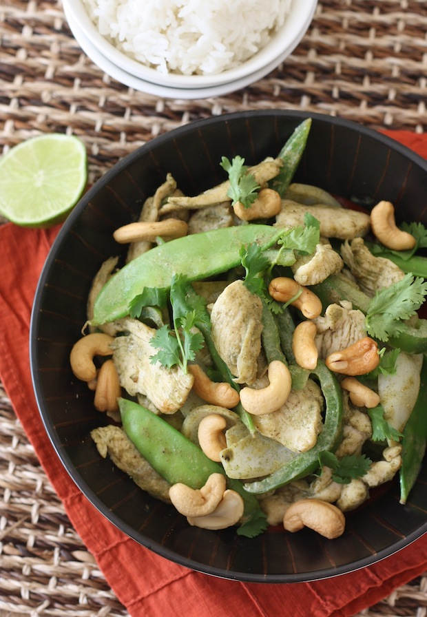 Thai Green Curry Chicken Stir-Fry with Cashews by SeasonWithSpice.com