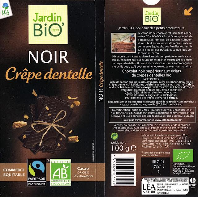 tablette de chocolat noir gourmand jardin bio noir crêpe dentelle