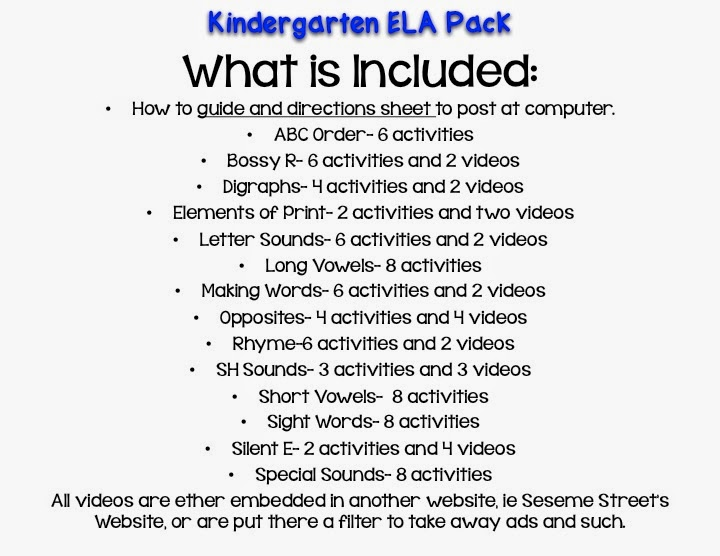 http://www.teacherspayteachers.com/Product/Computer-Center-Sheets-KindergartenELA-1295983